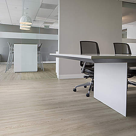 light brown resilient floors in office