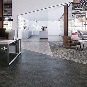 dark grey resilient flooring