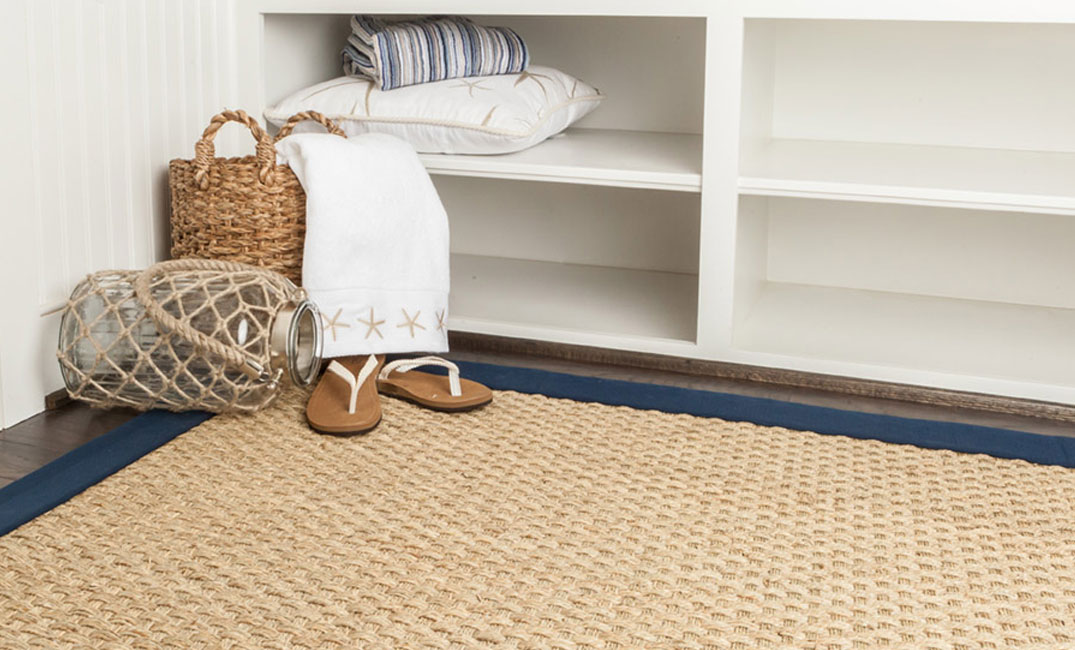 natural seagrass area rug in entryway