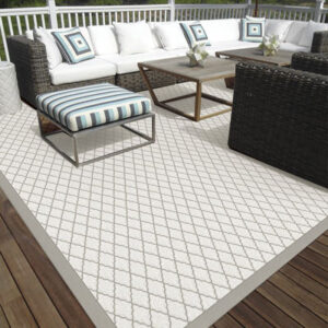 silver outdoor rug with diamond pattern on rug