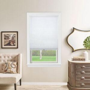 white shade on white window