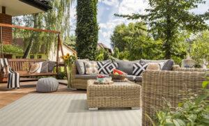tan outdoor rug on deck