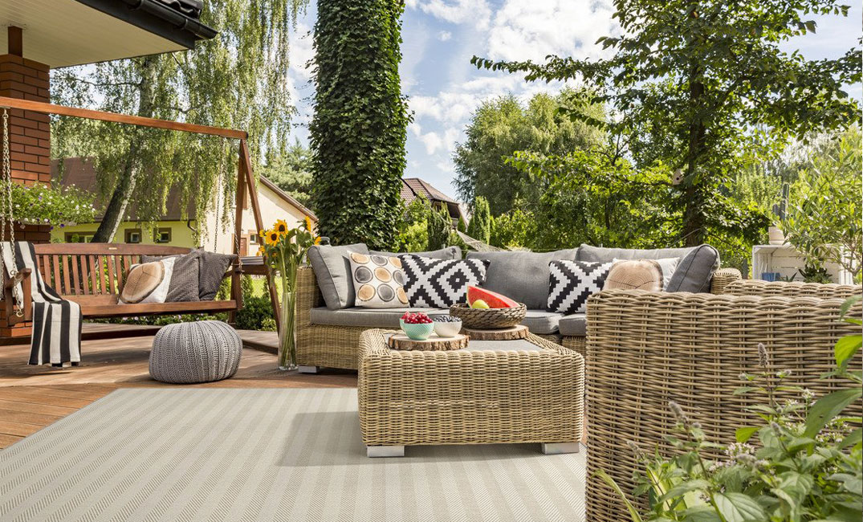 light grey striped indoor/outdoor rug