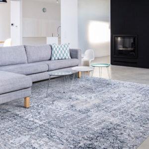 various blue tones area rug