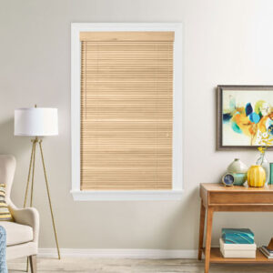 natural wood shutters in bedroom