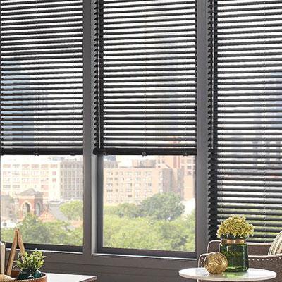 grey blinds in window