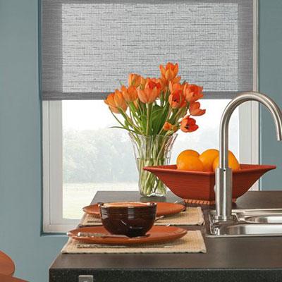 grey shade in window