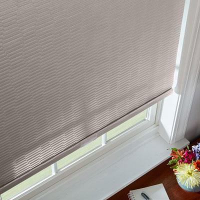 beige shade in window