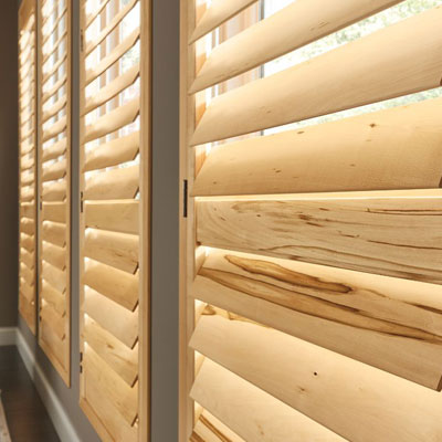 light wood shutters
