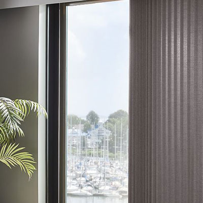 vertical blinds in doorway