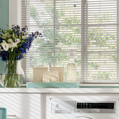 white blinds in windows