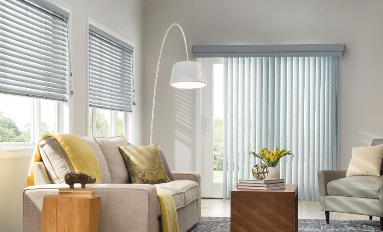 white blinds in living room windows