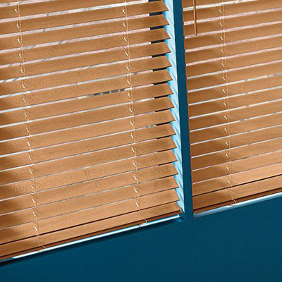 brown blinds in window