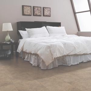 tan flooring in bedroom
