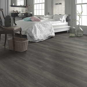 dark brown luxury vinyl tile in bedroom